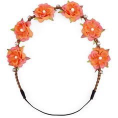 Carole Coral Flower & Crystal Headwrap ($18) ❤ liked on Polyvore featuring accessories, hair accessories, head wrap hair accessories, flower headbands, coral hair accessories, long hair accessories and head wrap headband