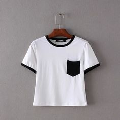 Solid Pocket Crop Top Item Type: Tops Tops Type: Tees Gender: Women Clothing Length: Short Sleeve Style: Regular Pattern Type: Solid Style: Fashion Brand Name: bohocotol Fabric Type: Broadcloth Materi