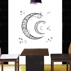 Wall Stickers Wall Decals, Fashion Crescent Moon PVC Wall Stickers - USD $6.99