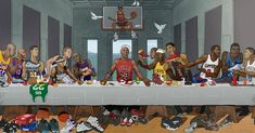 This amazing Last Supper piece created for the Ballzy store in Latvia features Michael Jordan, Kobe Bryant, LeBron James, Allen Iverson and more. Basketball Memes, Basketball Posters, Basketball Art, Basketball Legends, Love And Basketball, Jordan Basketball, Basketball Jersey, Shaquille O'neal, Magic Johnson