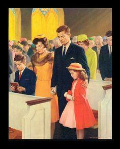 "Vintage Shaw Barton ""A Family in Prayer"" Church Calendar Art Print   eBay"