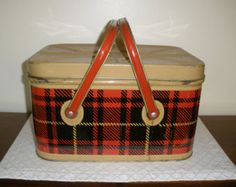 plaid picnic basket on Etsy, a global handmade and vintage ...