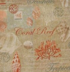 Coral Shores Beachy Seashells Tropical Indoor Outdoor Cloth Napkins (Set of 4)