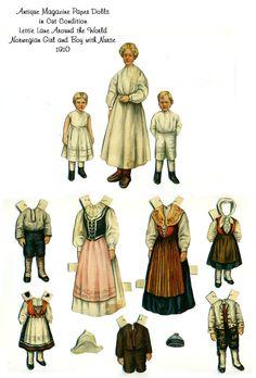 Antique Lettie Lane Around the World Magazine Paper Dolls Norwegian Girl Boy Nurse Ladies Home Journal Sheila Young 1910 Edwardian Victorian
