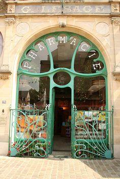 Art Nouveau style chemist shop doorway, Calvados, Normandy, France