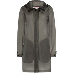 Hunter Transparent Coat ($190) ❤ liked on Polyvore featuring outerwear, coats, grey, grey coat, hunter coats, gray coat, slim fit coat and slim coat