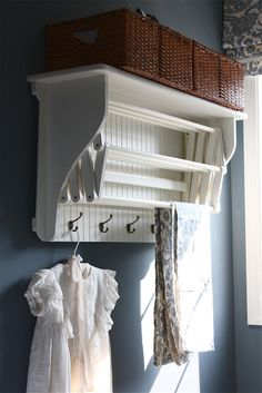 Laundry Drying Rack with Shelf & Hooks - from The Yellow Cape Cod: Laundry Room Makeover {Product Source List}