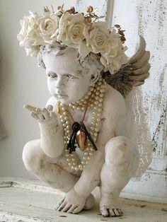 Distressed cherub statue w/ handmade ornate white rose crown shabby cottage chic embellished angelic figure home decor anita spero design