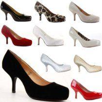 Womens Work Platform Wedding Court Shoes Pumps Stiletto Low Mid Kitten Heel Size 3-8