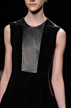 Chic Simplicity - black dress with leather panel; fashion details // Calvin Klein Fall 2012