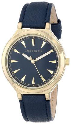 Women watches: Watches women gold Anne Klein Women's AK/1504NVNV Gold-Tone Case Navy Blue Leather Strap Watch