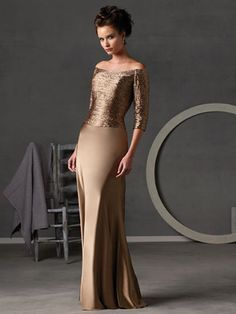 Mother of The Bride Dresses Pictures - Sheath / Column Tight Bateau Off the Shoulder Long / Floor-Length Elastic Silk-like Satin Artificial Silk Mother of The Bride Dress - Style MD4576