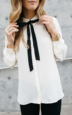 Fall Business Casual Outfit - Chic Black & White Look for Work