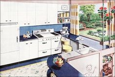 This kitchen ad appeared in Ladies Home Journal in mid 1945. It may have been the first of the New Freedom Gas Kitchen ads published. This one is notable for its blue, white, and yellow color scheme and no name ... the rest of the kitchen designs had names.    LOVE the window and garden!
