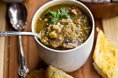 Mushroom Millet Soup with Cheezy Garlic Bread... vegan food never sounded so yummy.  *drool*