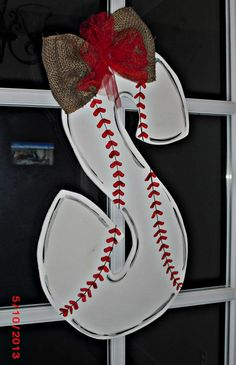 Baseball Alphabet Wood Cut Out Hanger by TheWaywardWhimsy on Etsy, $35.00