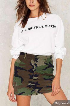 Camouflage Pattern Pockets Design High Waist Mini Skirt
