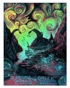 worlds colliding**  Alabama Shakes Berkeley Night 1 (AP Foil Edition of 10) – James R. Eads Print Shop