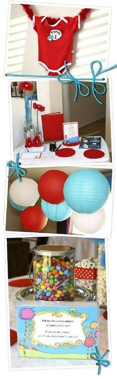 cute Dr. Seuss Thing 1 and Thing 2 baby shower theme- would be great for moms expecting twins!