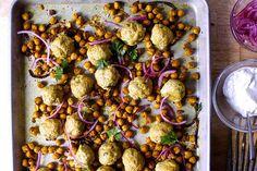 sheet pan meatballs with chickpeas, turmeric and lemon