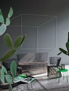 Decorate with string geometry on the wall! Méchant Design: Antonino's house in Milano
