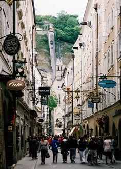 Old center of the city of Salzburg, Austria