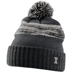 Nike Illinois Fighting Illini Striped Knit Beanie ($32) ❤ liked on Polyvore featuring accessories, hats, ill black, nike hat, nike, nike beanie, knit pom hat and beanie cap