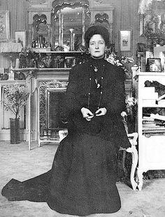 Alexandra Feodorovna seated in her Mauve Boudoir at the Alexander Palace, Tsarskoe Selo
