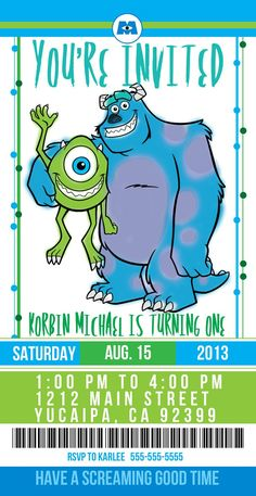 monsters+inc+birthday+ideas | Monsters Inc. Party Invite www.queenbeegraphics.com