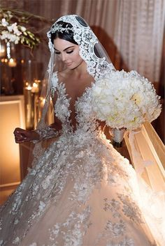 Deep V Neck Chapel Train Wedding Dresses Bridal Gown with Flowers Sleeveless - Outfit - Mariage Robe Most Beautiful Wedding Dresses, Wedding Dresses With Flowers, Princess Wedding Dresses, Flower Dresses, Dream Wedding Dresses, Bridal Dresses, Mexican Wedding Dresses, Mexican Wedding Traditions, Elegant Wedding