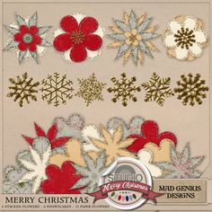Merry Christmas Flowers And Flakes by Mad Genius Designs - These extra elements will help you add the finishing touch to your scrapping projects! layer, scatter, and tuck them around your photos and papers and see how great they look.