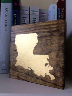 Wooden Gold Leaf Louisiana