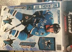 Joe Thornton fathead - $20 - Get a fathead of the #SJSharks captain for your wall! Available at the Sharks Store at SAP Center. Call to order: 408-999-6810