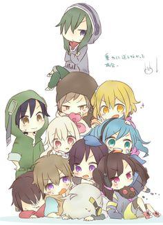 Mekaku City Actors - Chibi Kido, Sato, Kano, Momo, Shintaro, Hibiya, Konoha, Ene, and Takane