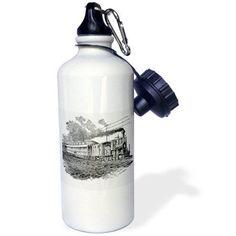 3dRose Antique Steam Train Sketch, Sports Water Bottle, 21oz