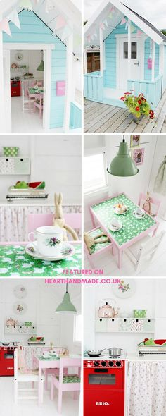 inside a DIY painted play shed for girls. Do you need some childrens shed ideas? This little painted play shed/kids hut is adorable and would look fabulous in your garden!