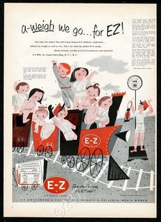 1953-Mary-Blair-little-girl-boy-kids-train-art-E-Z-underwear-pajamas-print-ad