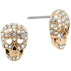 Betsey Johnson Pave Skull Stud Earrings ($25) ❤ liked on Polyvore featuring jewelry, earrings, gold, pave earrings, betsey johnson, gold tone earrings, rose gold tone jewelry and skull jewelry