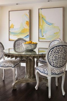 Brunschwig And Fils Les Touches Fabric Accents Round Back French Dining Chairs Placed Surrounding A