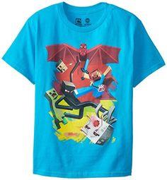 Minecraft Boy s 8-20 Sam Cube Battle Youth T-Shirt cbdf7ce24c29