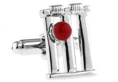 Anyone for a game of cricket? You'll be stumped by how cool these cricket cufflinks look with your suit. These cricket stump and ball cufflinks have been crafted from polished rhodium with red enamel highlights. Add these novelty cufflinks to your collection and you'll really stand out from the crowd.