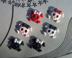 Handmade Cute Skulls with Bow Cabochon 6 Pieces by GothicChameleon, £2.40