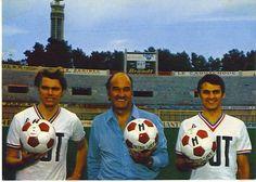 Marcel Leclerc et ses deux vedettes, Josip Skoblar et Roger Magnusson