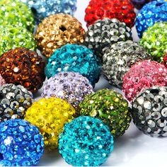 100pcs/lot Wholesale color mix 10mm rhinestone crystal disco ball beads accessories fit shambala DIY bracelet jewelry for women US $16.99