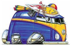 Volkswagen VW Camper Bus Printed Koolart Cartoon T Shirt 1507   in Clothing, Shoes & Accessories, Men's Clothing, T-Shirts | eBay