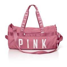 PINK Gym Duffle (580 MXN) ❤ liked on Polyvore featuring bags, luggage and black