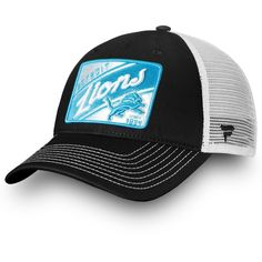 657dbbce2 Men s Detroit Lions NFL Pro Line by Fanatics Branded Black White Journeyman  Trucker Adjustable Hat