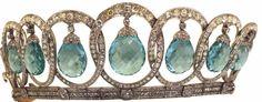crown jewels of spain | ... and Crown Jewels / Queen Victoria Eugenie of Spain's aquamarine tiara