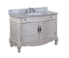 Versailles 48 Inch Bathroom Vanity Carrara Antique White Includes Italian