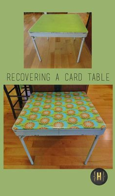 Updating an old card table with new fabric is surprisingly easy to do. | {Home-ology} modern vintage